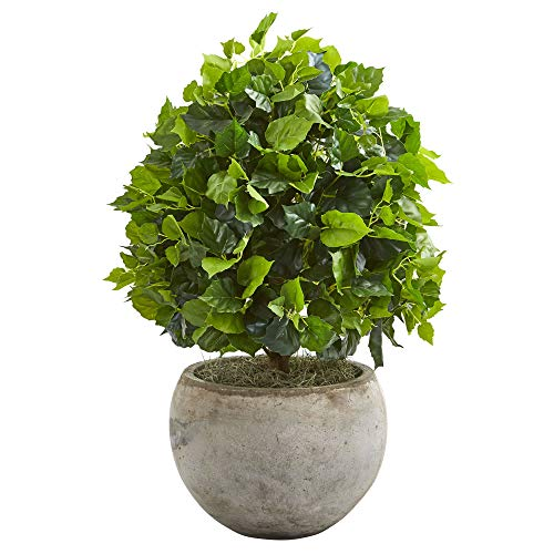 Nearly Natural 9095 28-in. Ficus Artificial Bowl Planter Silk Trees, Green