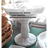 RM 14inch Marble Bowl Birdbath with 15inch Pedestal Stand of Marble for Festival Indoor Outdoor Decoration