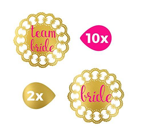 TATTOOCREW® Gold Tattoo Set Team Bride Braut JGA Pink Temporäre Tattoos, 12er (Parfum Nationalen Kostüme)