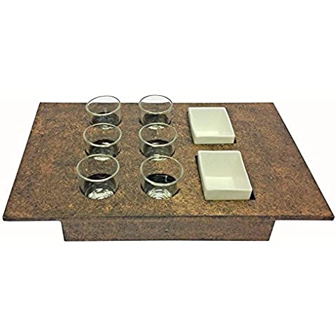 Seis Luminarc copas de Tequila en un cuadrado de textura de madera bandeja con dos cuencos de cerámica: Casa Bar o uso profesional–15,75
