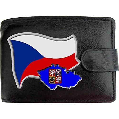 Czech REP Flag Tschechische Republik Flagge Karte Wappen Bild auf KLASSEK Marken Herren Geldbörse Portemonnaie Echtes Leder RFID Schutz mit Münzfach Zubehör Geschenk mit Metall Box -