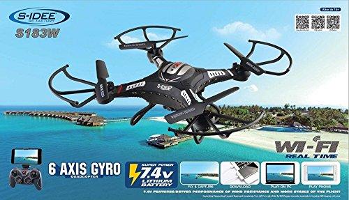 s-idee® 01540 Quadrocopter S183W HD KAMERA WIFI 4.5 Kanal 2.4 Ghz Drohne mit Gyroscope Technik DROHNE MIT WIFI FPV Drohne HD Kamera One Key Return Coming Home Funktion - 2