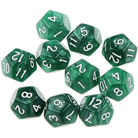 10pcs Juegos de Mesa Dados de Doce Caras D & D TRPG Padrón de Perla - Verde