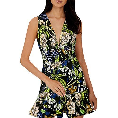 Whycat Printed Beach Mini Dress Frauen Sommer V-Ausschnitt Sleeveless Boho Kleider für Frauen Party Nacht sexy(Grün,L