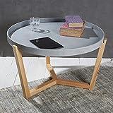 Wholesaler GmbH Couchtisch Wohnzimmertisch Sofatisch Tisch Lifestyle Modern Chic mit Abnehmbarem Tablett ø 80 cm Grau Beistelltisch