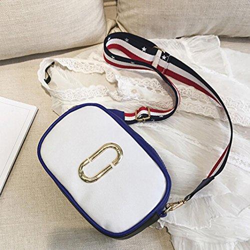 Longra le donne di colore crossbody graffetta nastro singolo borsa Bianca