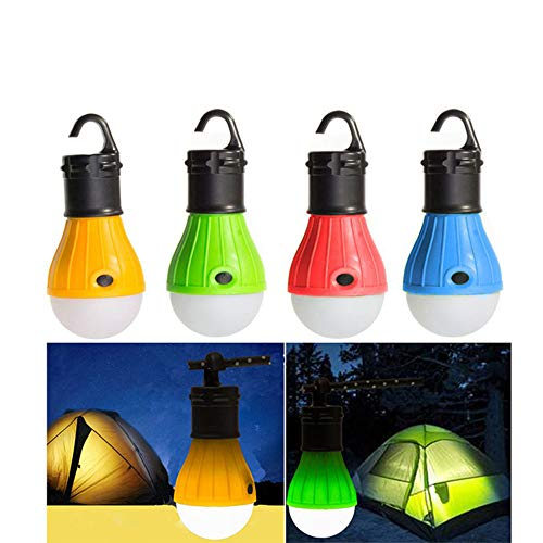 Noodei LED Camping Laterne, 4 Pack Portable Outdoor Zelt Licht Notfall Glühbirne für Camping, Wandern, Angeln, Hurrikan Beleuchtung Deckenventilatoren (Hurrikan-laterne, Wandleuchte)
