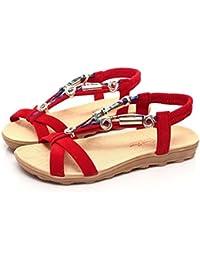 Beauty-Luo Sandali Estivi Donna, Infradito Donna Eleganti,Croce Allacciato Scarpe Piatto Tacco Peep Tacco Sandali Beach Shoes (36, A)
