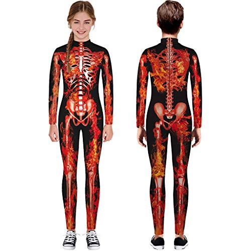 ToDIDAF Halloween Kostüm Kinder Teen Overall Mädchen Jungen Cartoon Schädel Skelett Print Strampler Langarm Festival-Kleidung für Fasching Karneval Cosplay Maskerade Party (Rot, XL)