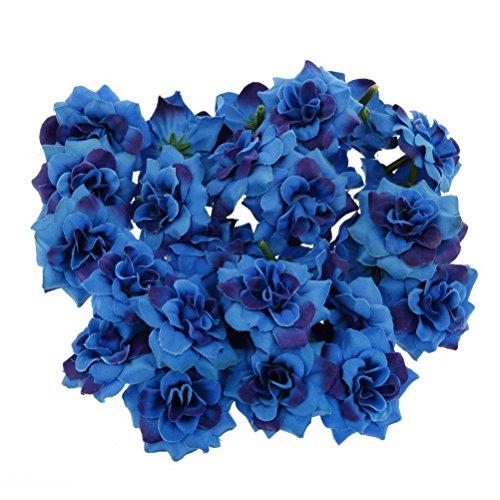 Rosenice piante artificiali finto fiore finto seta stapelia fiore teste casa giardino decorazione festa blu 50 del pack