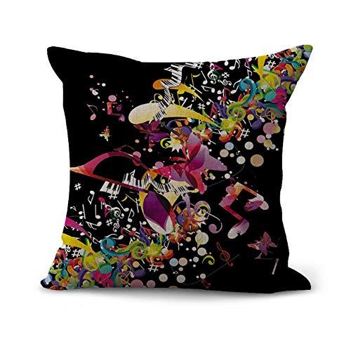 OPoplizg Cushion Cover Musical Instrument Violin Colorful Brilliant Musical Note Creative Art Pillow Case Home Bar Club Car Bed Decor Sofa Cushion Cover 45cm x 45cm(18 x 18inch) MY-C1085-01 (#2)
