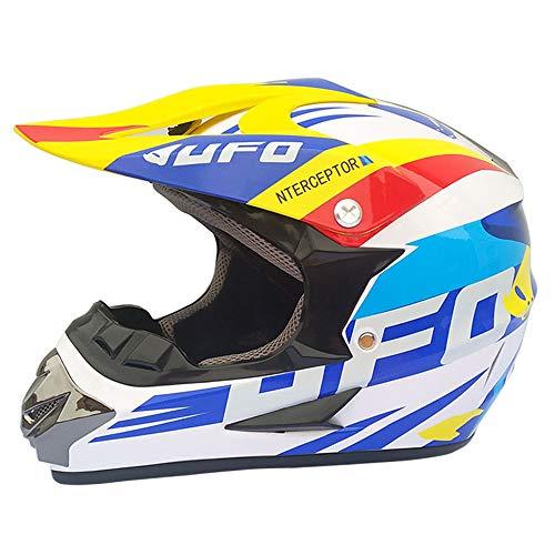 Ltongx Adult Motocross Casco Moto E Adult MX Motocross (Guanti, Occhiali, Maschera, 4 Piece Set),White/UFO,L