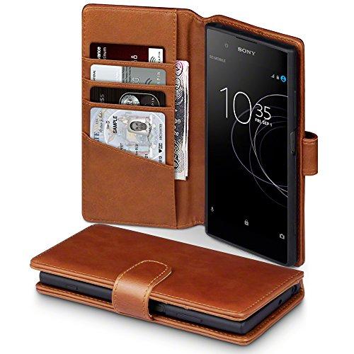 Terrapin, Kompatibel mit Sony Xperia XA1 Plus Hülle, [ECHT LEDER] Brieftasche Case Tasche mit Standfunktion Kartenfächer und Bargeld - Cognac