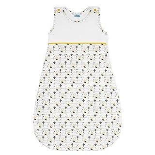 Baby Schlafsack Sommer, TOG 1, Größe 70cm (0-6 Monate) - 100% Biobaumwolle, OEKO TEX Zertifiziert Chemikalienfrei - Unisex, Schlummersack, Kinderschlafsack - Reißverschluss - Gelb Sweety Fox