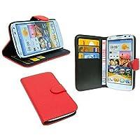 Praktische Buch-Tasche für Huawei Ascend G610 in Rot Wallet Book-Style @ Energmix