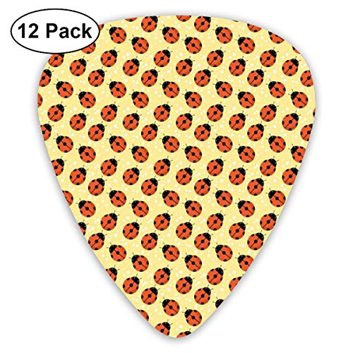 Guitar Picks12pcs Plectrum (0.46mm-0.96mm), Cute Bugs Children Cartoon Style Stars Polka Dots Nature Inspirations,For Your Guitar or Ukulele