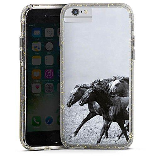 Apple iPhone 6 Bumper Hülle Bumper Case Glitzer Hülle Horses Pferde Pferd Bumper Case Glitzer gold