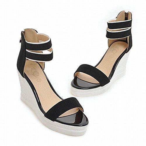 Mee Shoes Damen Keilabsatz Reißverschluss open toe Sandalen Schwarz