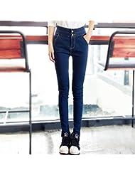 Corea alta cintura pie elástico resorte ocio jeans mujer ,L,Azul