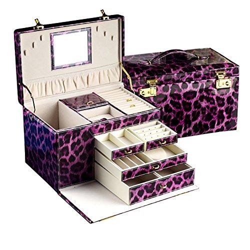 étui cosmétique Organiseur de maquillage / cosmétiques Boîtier de rangement pour bijoux Coque Flip-Cover Elegant Wedding Gift ( Couleur : Violet )