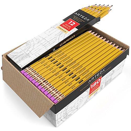 Arteza Caja lápices goma borrar - Pack 180 lapiceros