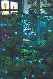 240 LED Lichterkette außen Solar Lichter Kasksade | 12 x je 20 LED Lichterkette mit Solar Panen und Lichtsensor | mit Ring zum Aufhängen und Überstülpen über den Weihnachtsbaum - Lichternetz XXL