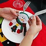 Besteckhalter Weihnachten Hirolan Weihnachtliche Tischdeko 3 Stück Weihnachten Weihnachten Dekor Sankt Küche Geschirr Halter Schneemann Tasche Abendessen Besteck Tasche (Rot) - 5