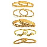 #6: Youbella Combo Of Five Alloy Gold Plated Bangles Jewellery For Girls/Women (2.8)