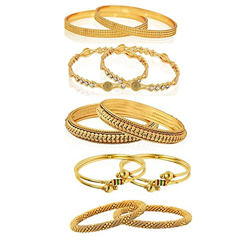Youbella Combo Of Five Alloy Gold Plated Bangles Jewellery For Girls/Women (2.8)