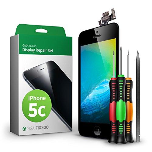 Set kompatibel mit iPhone 5c, Reparaturset Komplett Schwarz, Ersatz Bildschirm, Retina LCD Glas mit Touchscreen, inkl. integrierte Frontkamera & Werkzeug ()