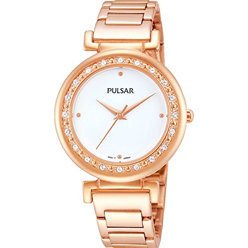 Pulsar Women's 32mm Rose Gold-Tone Gold Plated Bracelet & Case Quartz White Dial Analog Watch PH8106X1