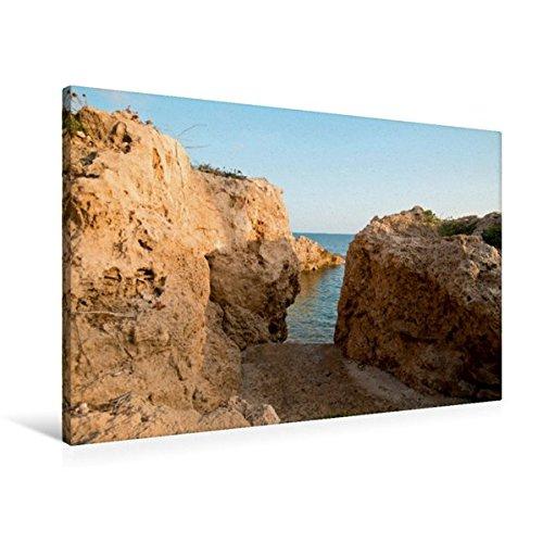 Preisvergleich Produktbild Premium Textil-Leinwand 90 cm x 60 cm quer, Zugang zu Felsenbucht, Südwesten Zyperns | Wandbild, Bild auf Keilrahmen, Fertigbild auf echter Leinwand, Leinwanddruck (CALVENDO Orte)