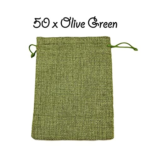 50 x Olive Green Drawstring Strong Jute Burlap Hessian Wedding Pouches Favour Bags Jewellery Pouch 13 x 18 cm