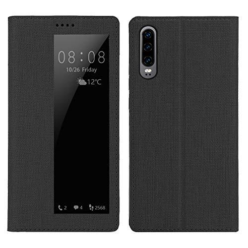 Simicoo Huawei P30 Pro Flip Leder Wallet Case Stand Magnetic View Window Sleep Wake Up Smart Cover Silikon TPU Stoßfest Case für Huawei P30 Pro, P30, schwarz Magnetic Wallet Case
