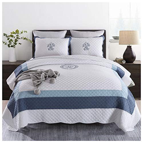 QINJLI Baumwolle Handgemachte Patchwork Plaid Stickerei Bettdecke Kissenbezug 3 stück Reversible Leichte Quilt Set All Season Mehrzweck Bettwäsche 230×250cm (Color : A) -
