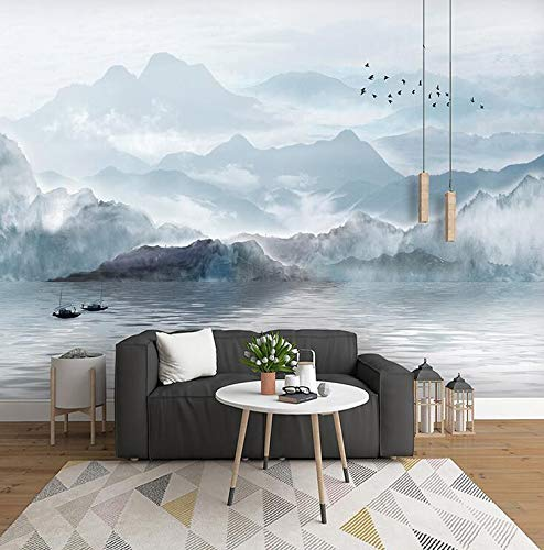 Neue chinesische 3D-TV-Hintergrundbild, Tinte, Landschaft, Stimmung, Fresko, Wohnzimmerdekoration, Film- und TV-Hintergrundbild, 430 × 280 cm