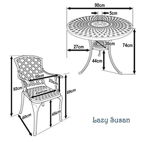 Lazy Susan – MIA 90 cm Gartentisch mit 2 Stühlen - 7