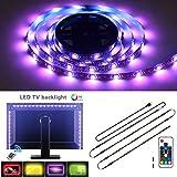 Retroiluminación LED de TV, tira de iluminación LED USB 4 x 1.64ft / 2M multicolor RGB 5050 DC5V con control remoto RF, iluminación de polarización para HDTV, TV de pantalla plana