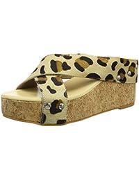 TANTRA Leather Espadrille Wedge Sandals Animal Print - Sandalias Para Mujer