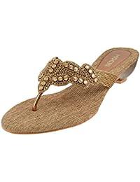 Mochi Women Gold Beaded Sandals (35-2934)