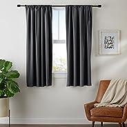 "AmazonBasics Room Darkening Blackout Curtain Set of 2 with Tie Backs - 245 GSM - (5.25 Feet - Window) 52"""