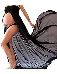 ESAILQ Femme Enceinte Robe en Mousseline Sexy Grossesse Femme Bandeau Robe pour Maternité Photo Shoot