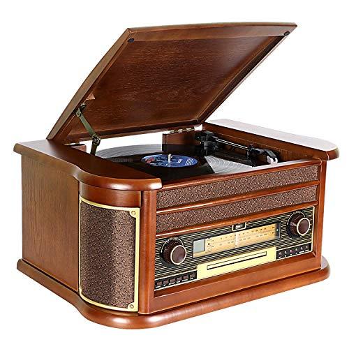Giradischi DLITIME con Radio AM&FM/USB/RCA/AUX/Telecomando/Lettore CD/Cassette/Giradischi in Vinile...