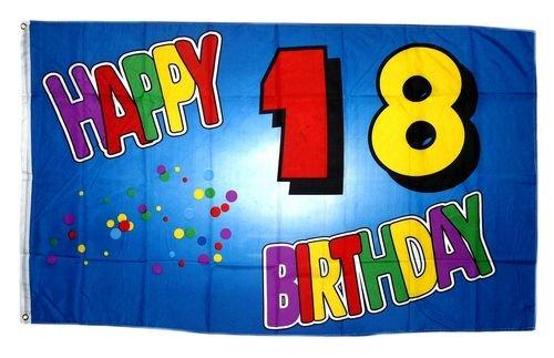 Fahne / Flagge 18. Geburtstag Happy Birthday NEU 90 x 150 cm (18 Flagge)