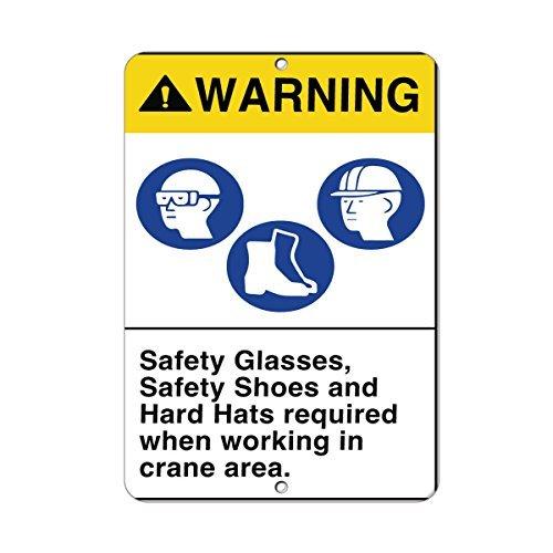 aqf527907Avvertenza Gug Occhiali di Sicurezza Scarpe Coperchio Cappelli in Metallo Alluminio segnali di Sicurezza firmare placca di Metallo Segno Banda Yard Sign 8x 12Inces