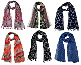 #6: Printed Designer Poly Cotton Set of 6 Mullticoloured stoles ; Trendy scarf stoles dupatta for Girls/Ladies/Women (F0168)
