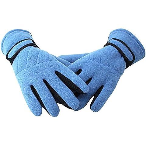Eizur Invernali Pile Antiscivolo Sport Guanti Unisex Outdoor Antivento Termica Thinsulate Caldi ispessimento Guanti per Ciclismo Sci Escursionismo Caccia Arrampicata Motociclo--Cielo blu