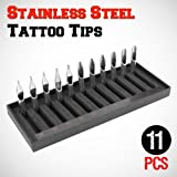 GotHobby 11pcs Stainless Steel Tattoo Tips Rounds Flats Mags