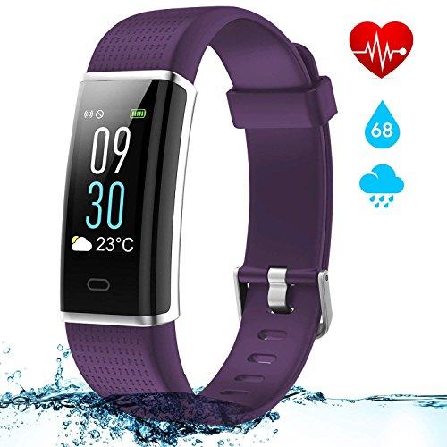Pulsera Actividad Inteligente con Pantalla Táctil Color 0.96'' OLED, NAIXUES Reloj Inteligente Pulsómetro para Hombre y Mujer Impermeable IP68 14 Modos de Deporte/Pulsera de Actividad Monitor de Frecuencia Cardiáco para IOS y Android (color Púrpura)