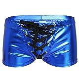 YiZYiF Herren Boxershort Wetlook Lack Leder Unterwäsche Trunks Stretch Briefs reizvolle Badehose Blau M